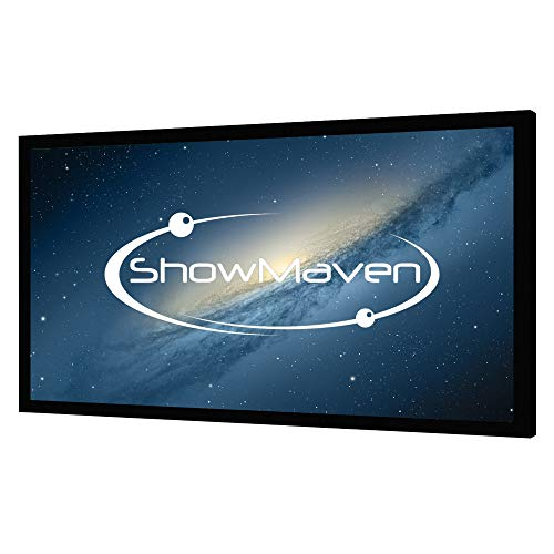 ShowMaven 100in /120in Fixed Frame Projector Screen, Diagonal 16:9, Active 3D 4K Ultra HD Projector Screen for Home Theater or Office (100inch)