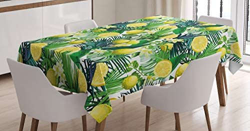 Ambesonne Nature Tablecloth, Tropical Plants with Large Evergreen Leaf Lemon Botany Palm Jungle Graphic, Dining Room Kitchen Rectangular Table Cover, 60 W X 84 L inches, Yellow Forest Green