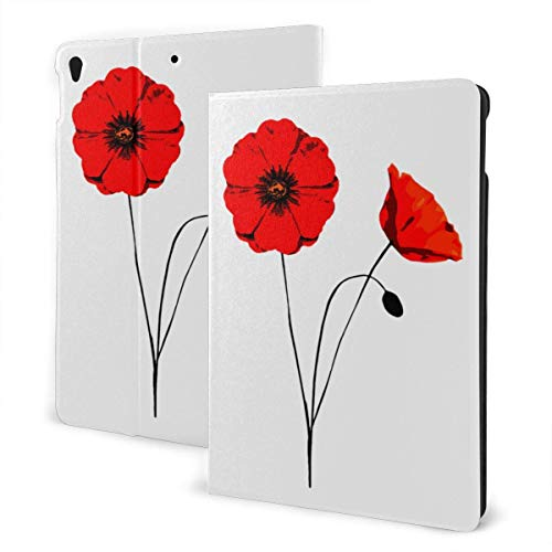 Case for iPad Poppy Flower PU Leather Business Folio Shell Cover with Stand Pocket and Auto Wake/Sleep for iPad Air 10.5'
