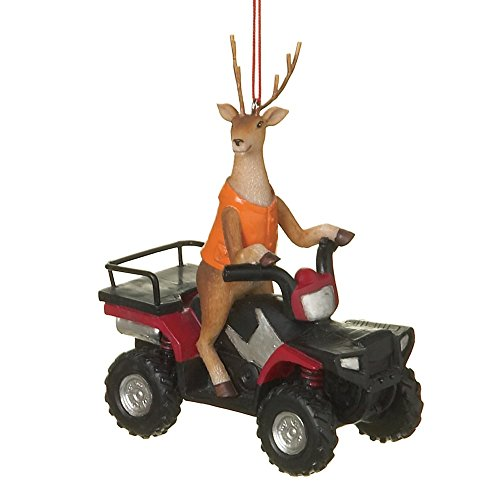 Deer Hunter Buck on ATV Four Wheeler Resin Stone Christmas Tree Ornament by Midwest-CBK