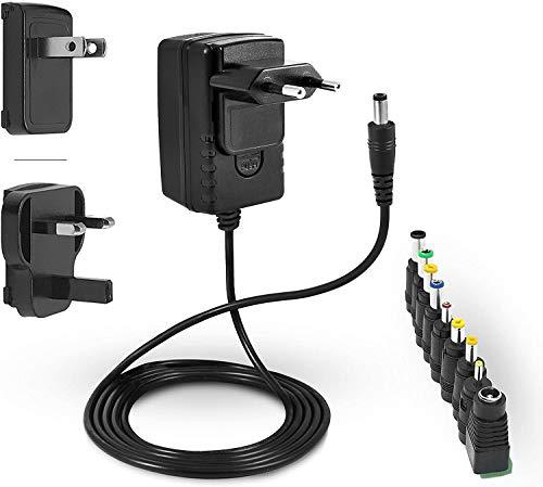 LEICKE ULL Netzteil 12V 2A | 12V 2000mA | TÜV Zertifizierung | Ladegerät 24W mit 9 verschiedenen Adapterköpfen für kleine elektronische Geräte: LCD, WLAN Router, Hub, LED-Streifen, Scanner, Switch