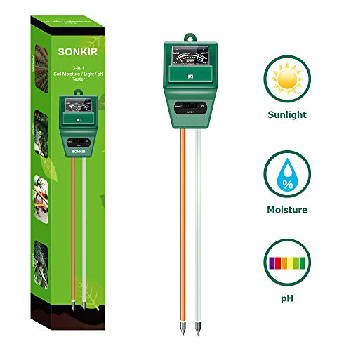Best soil test kit - Sonkir Soil pH Meter, MS02 3-in-1 Soil Moisture/Light/pH Tester Gardening Tool Kits for Plant Care, Great for Garden, Lawn, Farm, Indoor & Outdoor Use (Green)