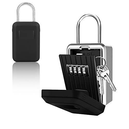 Nannday Schlüsselsafe Sicherheitsspeicher, 2IN 1 Wandbehang 4-stelliger Passwortschlüsselkasten Schlüsselschloss-Aufbewahrungskoffer mit wasserdichter Abdeckung für Zuhause im Freien