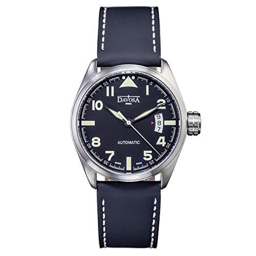 Davosa Reloj suizo automático militar – Reloj de pulsera analógico clásico impermeable para hombre con nailon OTAN y correa de cuero pulsera