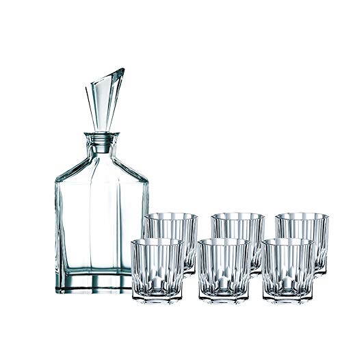 Spiegelau & Nachtmann 90025, 7-teiliges Whisky-Set, 1 Dekanter+ 6x Whisky-Becher, Aspen