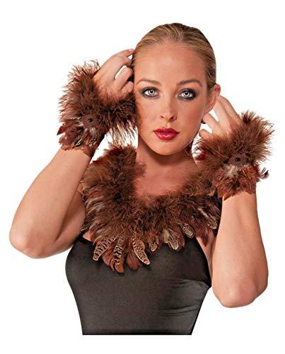 shoperama Feder Armstulpen Eule Adler Braun Handschuhe Kostüm-Zubehör Accessoire Karneval Verkleidung Vogel Handgelenkstulpe Arm-Manschette