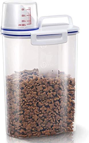 LINNHUE Voedselopslag Container voor kat hond luchtdichte huisdier voedsel container met maatbeker pour tuit BPA vrije plastic container