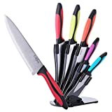 craverix Professional Kitchen Knife Set with Block - Rust Proof, Stainless Steel - All Purpose 5 - Sharp Knives and Acrylic Stand - TPR Handles Colored