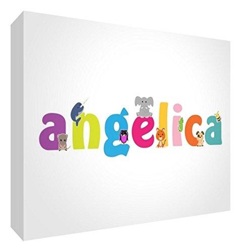 Little Helper LHV-ANGELICA-A6BLK-15IT Pannello Decorativo Neonato/Battesimo Idea Regalo, Disegno Personalizzabile con Nome da Ragazza Angelica, Multicolore, 10.5 x 14.8 x 2 cm