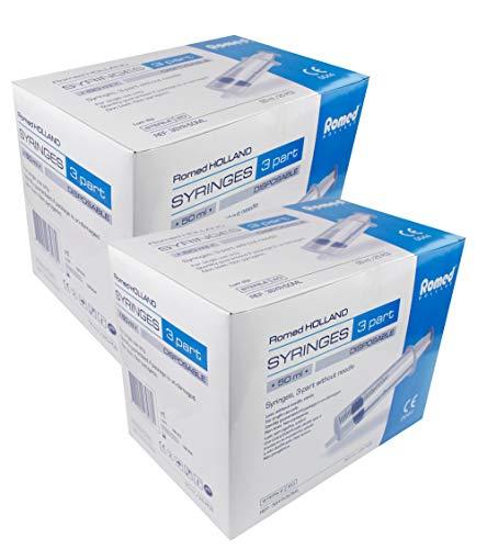 Einmalspritzen Einwegspritzen Spritzen von Romed Medical Auswahl Menge U. Größe(Spritze 50 ml,Menge: 50 Stück)