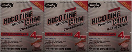 Nicotine Gum 4mg Sugar Free Coated Cinnamon Generic for Nicorette 100 Pieces per Box Pack of 3 Total 300 Pieces