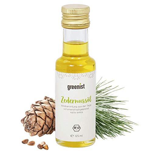 natürliches und rohes greenist BIO-Zedernussöl - Zedernkernen aus Wildsammlung der Taiga (Sibirien) – NEUE ERNTE - 100% naturrein- Glasflasche - kaltgepresst, nativ extra, 125 ml