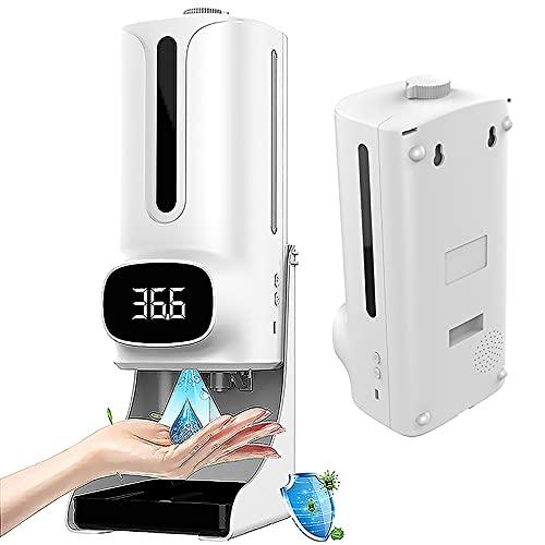 ilbcavne Dispensador Automático Alcohol Desinfectante Spray con Termómetro,1200ml Dispensador Automático Sensor Infrarrojo Espuma Desinfectante Manos para Baños,Cocinas,Restaurantes