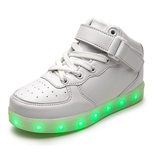 JIER Unisex Kinder Turnschuhe Licht LED Sneaker USB Aufladen Shoes Schuhe mit LED Leuchtende Blinkende Low-top Sneaker für Mädchen und Jungen (26,Weiß)