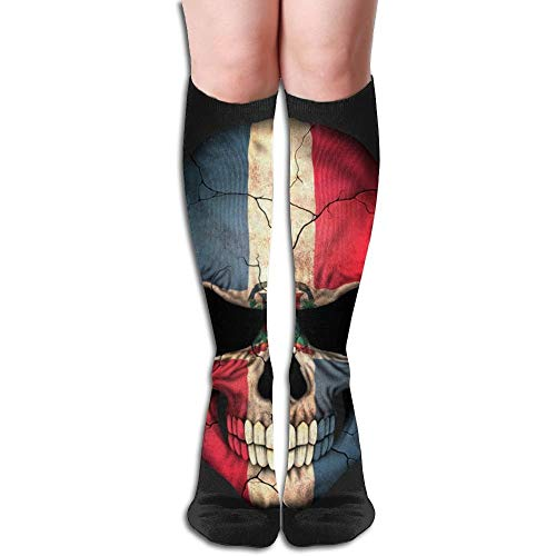 Ccsoixu Dominican Republic Flag Pirate Skull 50 Full Comfort Knee High Socks Cotton Long Knee High Socks