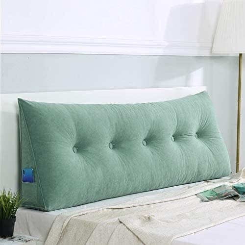 xjm Cojín de color sólido para sofá cama, cojín grande para cabecero, almohada de lectura con almohada extraíble (color: verde aguamarina, tamaño: 80 x 50 x 20 cm)