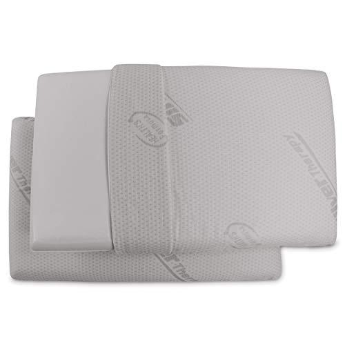 Baldiflex Pack de 2 Almohadas Viscoelástica Modelo Jabón 70x40 Massage Ultra Transpirable Funda 100% Silver Safe Extraíble y Lavable