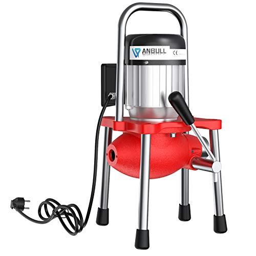 Anbull GQ80 elektrische Rohrreinigungsmaschine, 230V Rohrreiniger,geeignet für Ø20-150 mm Rohrleitungen, elektrische rohrreinigungsspirale,Abflussreiniger mit Ø10mm 16mm Spiralen