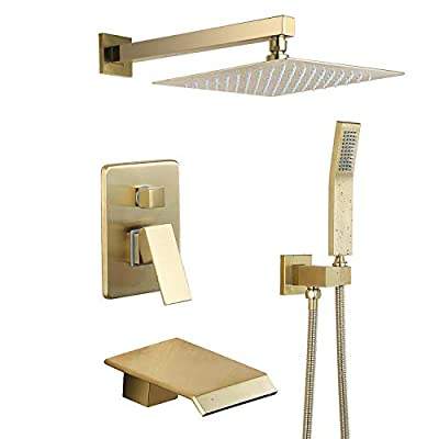 Shower System Waterfall Tub and Shower Faucet with Handheld 10 inches Rain Shower Fixtures Brass Rough-in Valve Included Brushed Gold