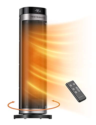 """TaoTronics PTC Space Heater, 1500W Fast Heating Ceramic , 24"""" High Tower Heater, Oscillating Portable & Quiet with Remote ECO Mode 12H Timer Tip-Over Switch Overheating Protection LED Display, Large"""