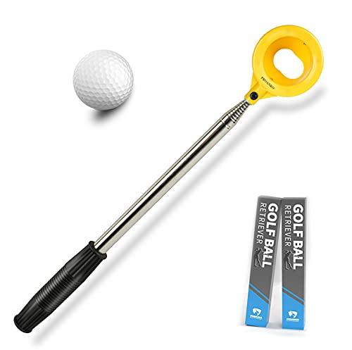 Proanko Golf Ball Retriever, Stainless Telescopic Extendable Golf Ball Retriever for Water w/Golf Ball Pick Up Retriever and Golf Net Bag