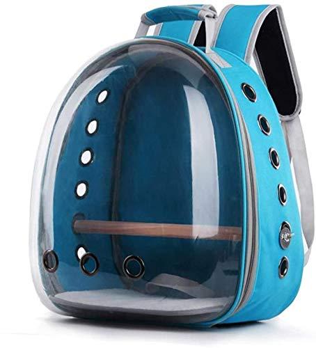longsheng Haustier-Transporttasche für Papageien, Reisekapsel, atmungsaktiv, 360° Sightseeing, Hellblau