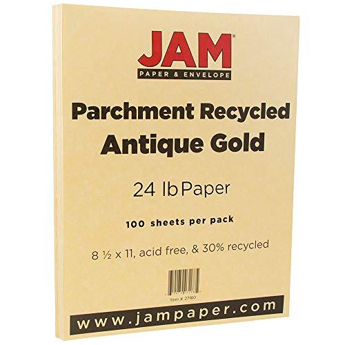 JAM PAPER Parchment 24lb Paper - 8.5 x 11 - Antique Gold Recycled - 100 Sheets/Pack Photo #4