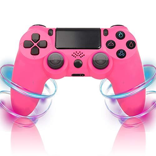 QLOVE Mando Inalambrico para Playstation 4, Gamepad Wireless Bluetooth Controlador Joystick con Vibración Doble/Puerto de Audio Remoto/Pantalla LED, Mando inalámbrico para PS4/Pro/Slim,Rosado