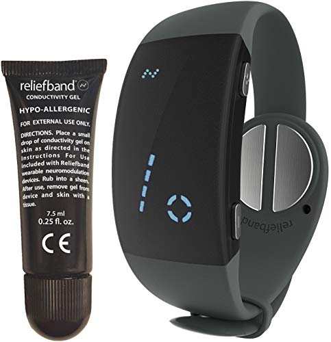 Reliefband Premier Nausea Relief Wrsitband-Increased Battery Life-No Side-Effects, Non-Drowsy Relief Band for Migraine, Anxiety, Hangovers & Motion Sickness (USB Charger, Charcoal)