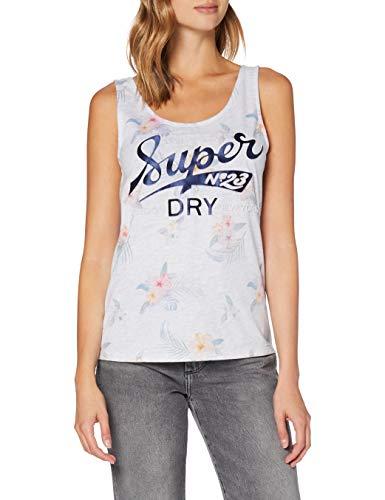 Superdry Super 23 Tropical AOP Vest Camiseta de Tirantes, Blanco (Ice Marl 54g), XS (Talla del Fabricante:8) para Mujer