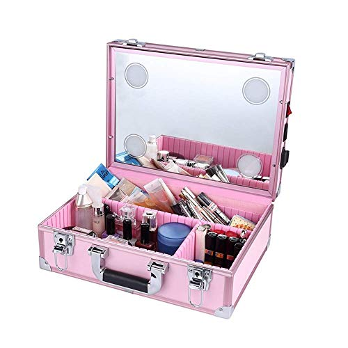 DDL With LED Lighted Mirror Hairdressing Trolley Lockable Cosmetic Suitcase Professional Beauty (Color : Pink)