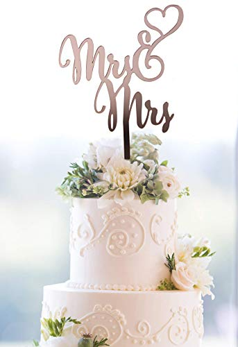 Starsgarden Mrs and Mrs Rose Gold Cake Topper | Wedding Anniversary Bridal Shower Bachelorette Party or Vow Renewal Decoration Ideas | Perfect Keepsake(Rose Gold Mrs&Mrs)