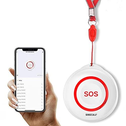 SINGCALL Tuya WiFi Smart SOS Botón de Alarma de Emergencia para discapacitados Buscapersonas Sistema Botón de transmisor de Alarma para Pacientes, Usar con Tuya WiFi