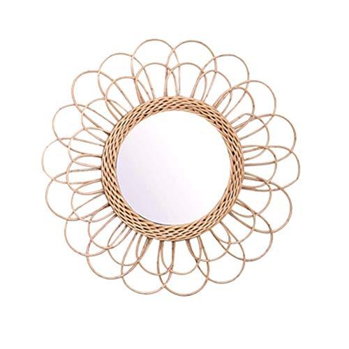 AWOME Miroir mural circulaire en rotin avec tournesol 40 cm