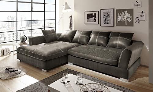 Reboz Big Sofa Ecksofa Webstoff Ausrichtungen (Braun, Links)
