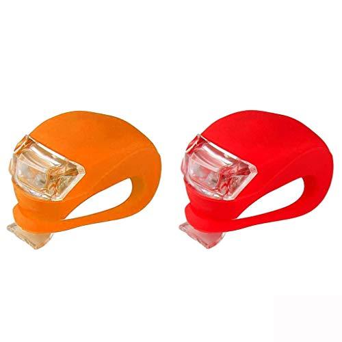 TriLance 2Pcs LED Silikon Mountainbike Fahrrad vorne Rückleuchten Set,Radfahren LED Lampe Fahrradlichter Fahrradlampe Fahrradlich Nebelscheinwerfer Fahrradrücklicht Fahrradbeleuchtung (Orange,Red)