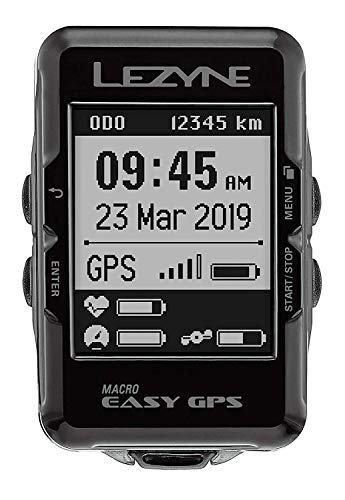 LEZYNE Macro Easy GPS Bike Computer, Bluetooth Connect, USB Rechargeable, 28H Runtime,...