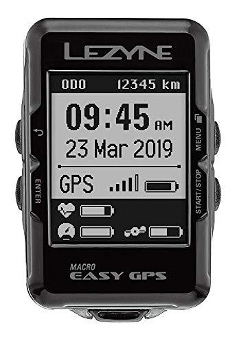Lezyne Macro Easy - Contador GPS para Bicicleta o Bicicleta de montaña, Unisex, Color Negro, Talla única (Talla del Fabricante: t.One sizeque)