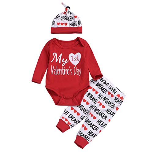 3PCS Newborn Baby Boy Girl My 1st Valentine's Day Outfit Clothes Infant Romper + Letter Pants Hat...