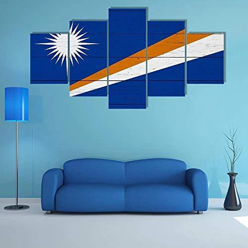 QQQAA Flagge der Marshallinseln Leinwandbilder 150x80cm Vlies Leinwandbild 5 teilig kunstdrucke modern wandbilder XXL Wanddekoration Design wandbild