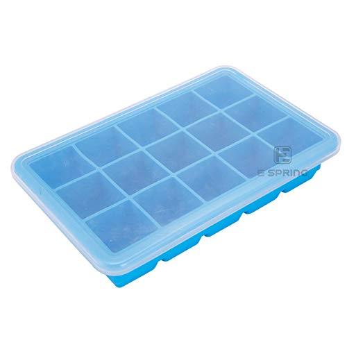 Harddo Silikon-Eiswürfelschalen mit Deckel, Easy-Release und flexiblen 15 Eiswürfelformen mit auslaufsicherem LFGB-Zertifikat und BPA-frei, langlebig, stapelbar und spülmaschinenfest