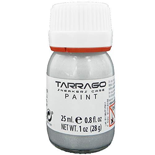 Tarrago   Sneakers Paint 25 ml con Pincel y Esponja   Colores Metalizados   Pintura para Sneakers y Zapatillas Deportivas de Cuero, Cuero Sintético y Lona (Plata Vieja 502)