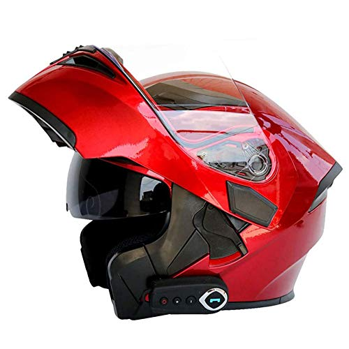 YBZX Caschi Moto Bluetooth per Uomo Donna Caschi Moto apribili integrali Integrato Sistema di Comunicazione interfono Integrato Caschi Motocross per Adulti
