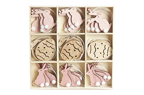 HEITMANN DECO Osteranhänger aus Holz zum Aufhängen - Hasen und Eier - Osterdeko, Frühlingsdeko - 36-teilig - Rosa, Natur, Pink