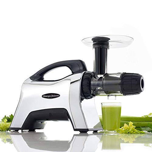 Omega NC1002HDC Cold Press Juicer - Slow Masticating Juice Extractor, Nutrition Centre, Wide Feeding Chute, Quiet Operation 80 RPM, 200W