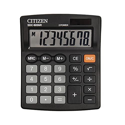Citizen Office SDC-805NR - Calculadora de mesa (pantalla de 8 dígitos, funciona con energía solar, funciona con pilas, 102 x 102 x 100 cm), color negro