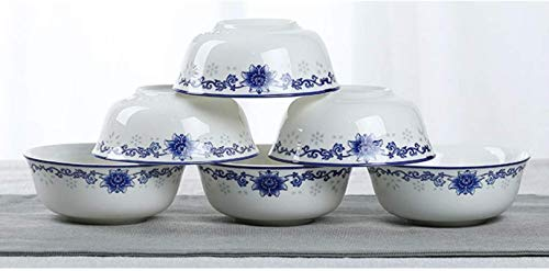 TXOZ-Q 6 piezas azul y negro Tazas de Arroz - Oriental porcelana china - Bone China Material - suave y delicada superficie - 6 pulgadas de porcelana azul y blanca bajo vidriado cuencos Platos