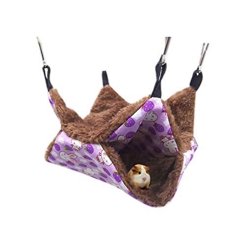 Hamaca de doble capa para mascotas, cálida para colgar para hurones/ardillas/chinchillas/hámster/otros morados