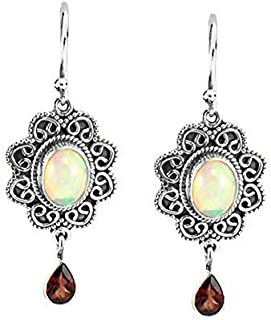 Sivalya Authentic and Natural Fire Opal and Garnet Earrings in 925 Sterling Silver - Genuine Opal Earrings in Solid Silver - Luxurious Gift Packaging is Included
