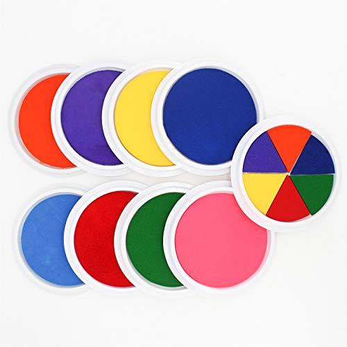 Craft Large Ink Pad Stamps Partner DIY Color, Washable Rainbow Finger Ink Pad for Fingerprints Birth Footprint Rubber Stamps for Office Usage Kids Gift (Set of 9) …